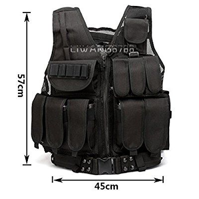 Brand New Wocharm Tactical Vest Combat Assault Airsoft Paintball Hunting Army Molle Attachment (Black 2#)