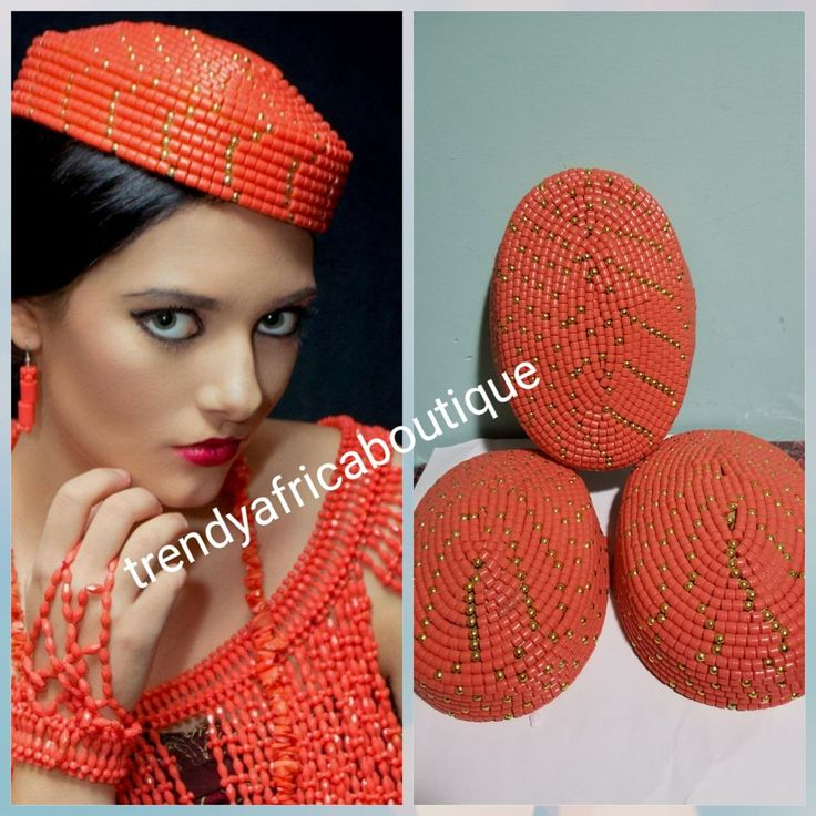 Nigerian Traditional wedding Bridal Beaded cap.  Edo/Igbo  Bride Accessories of coral cap. We also have Coral-necklace