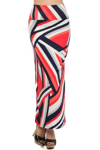 Assa-Red-Multi-Color-Stripe-Maxi-Skirt-Made-in-USA-Polyester-Blend-Large