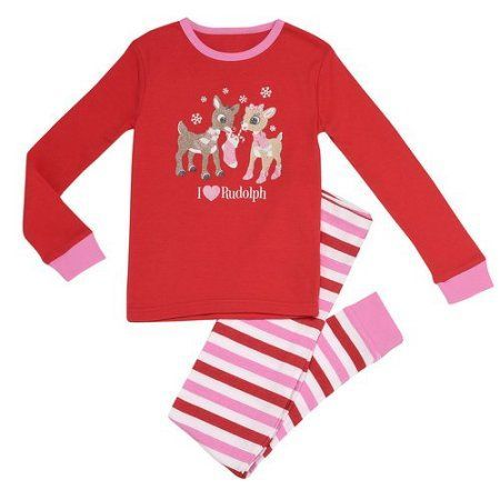 Rudolph Toddler Girl I Love Rudolph Snug Fit 2 piece set, Red
