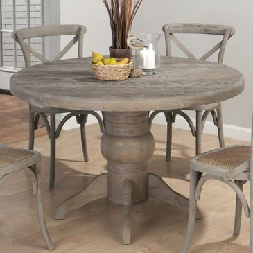 Gray Oak Stained Dining Table | Jofran Burnt Grey Round Pedestal Dining  Table In Solid Oak