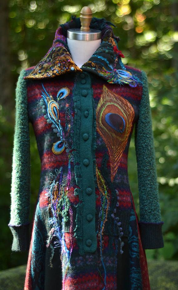 Boho long sweater COAT eco Fantasy fashion size S/L