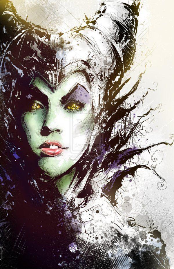 Maleficent Portrait by Vincent Vernacatola - Disney Villains Art