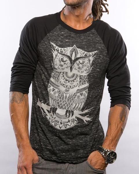 Owl Zentangle Mens Baseball Tee