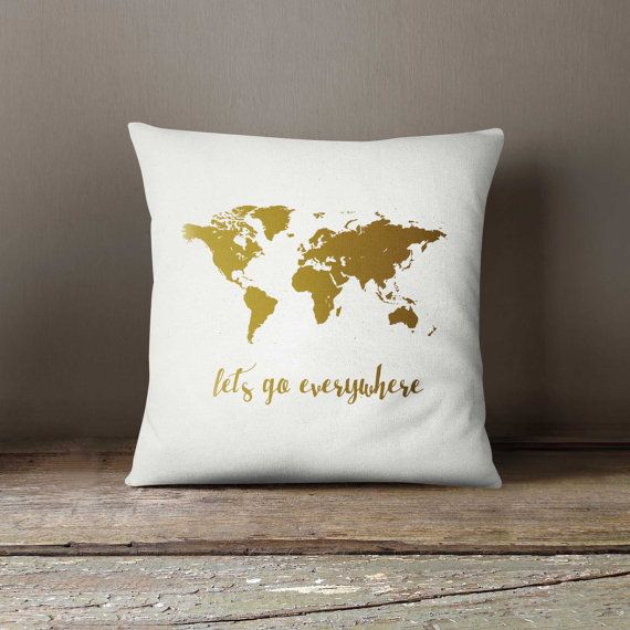 Pillow with insert, Gold Pillow, 16x16 Decorative pillow, World map, Home decor, Throw pillow, Pillow cover, 16x16, Birthday gift idea