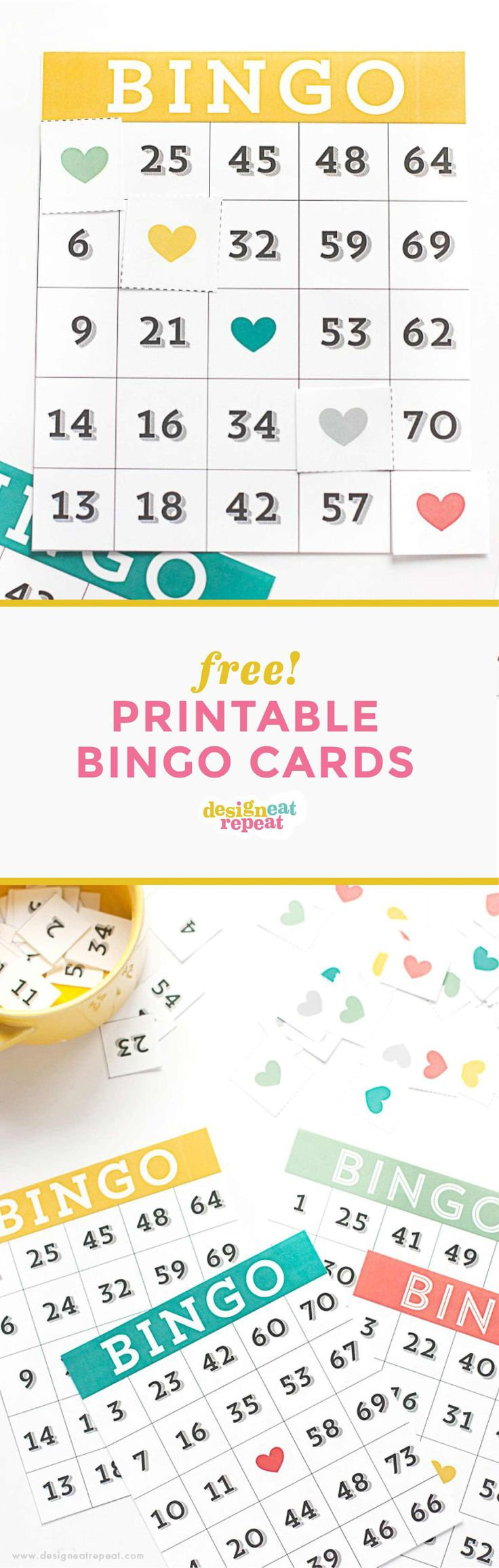 Free Printable Bingo Cards comes with four different cards, heart squares to mark your spots, and pieces numbered from 1-75 that you can place in a bowl to draw from. I also included a sheet of blank cards in the printable, in case you have more players! Simply, write in random numbers in each square for a little handmade card.