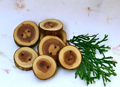 Use fallen tree branches to make buttons or moreso for something design wise.