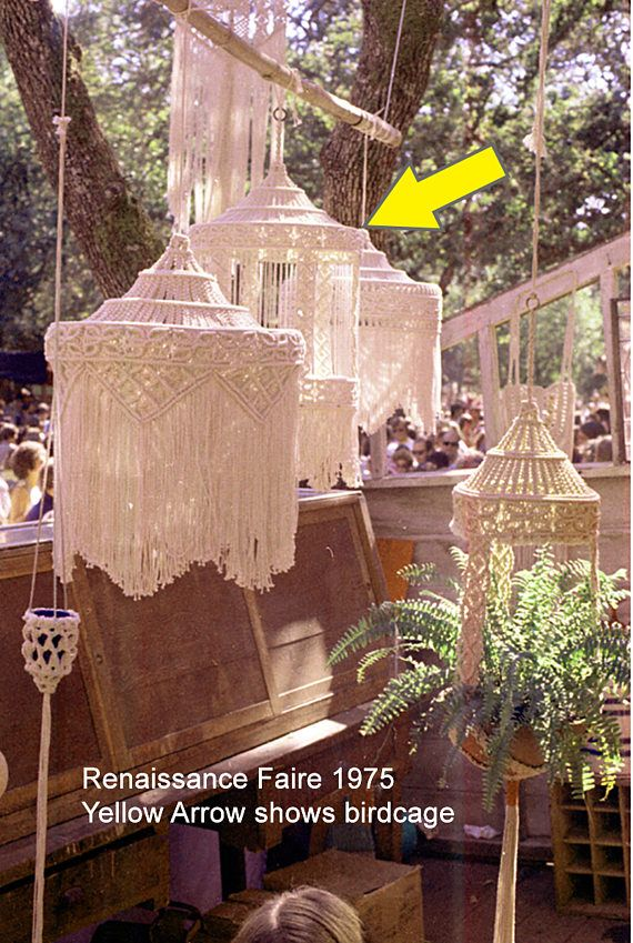 In 1973 I did a big Arts & Crafts show in San Francisco. I challenged myself to make a macramé birdcage completely out of string. Even the bars had to be string as it was never intended to be used to hold a bird. The bottom is wood so it can hold items inside, otherwise it is 100%