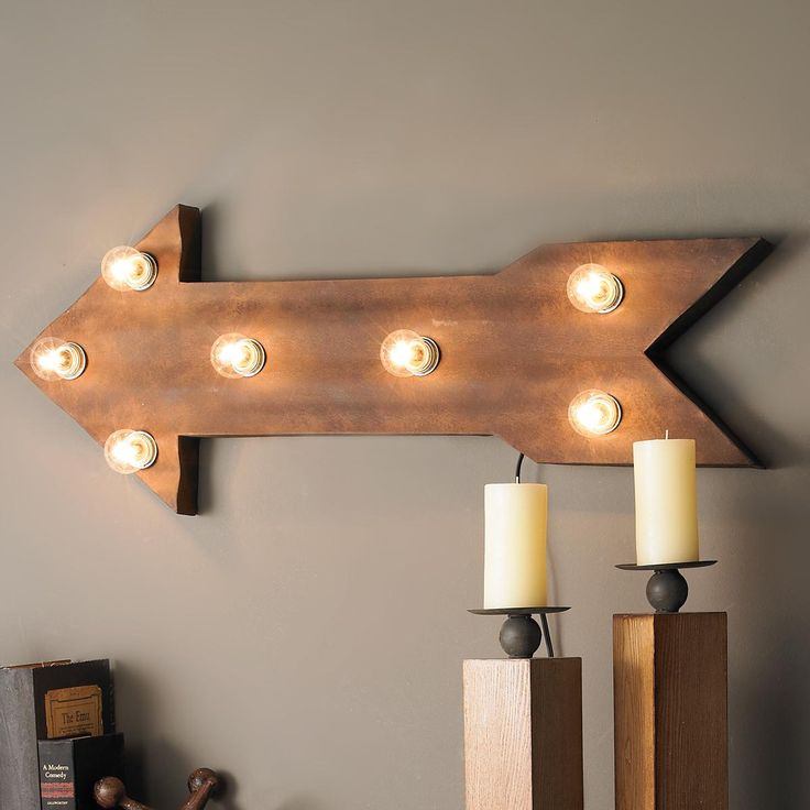Electrified Metal Arrow Sign This lighted metal arrow points the way toward fun wall decor with vintage industrial style. The mottled rusty brown finish body with a modern wavy surface, houses 7 lights to illuminate the way. Can be installed to point side to side, up, down or diagonally