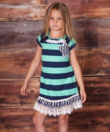 Take a look at this Teal Charmed Rugby Stripe Dress - Infant, Toddler & Girls by Liv & Monkey by Jelly the Pug on #zulily today!