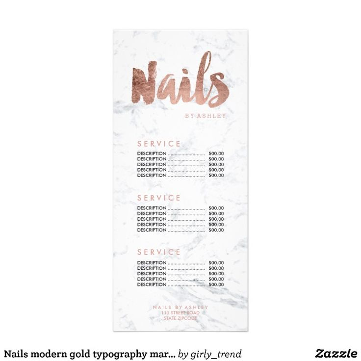 Nails modern gold typography marble price list rack card design