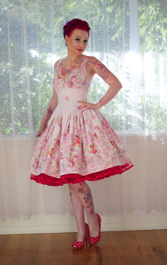 """1950's Style """"Amelia"""" Fairy Dress with Cross over Bodice and  Drop Waist Full Circle Skirt- custom made to fit"""