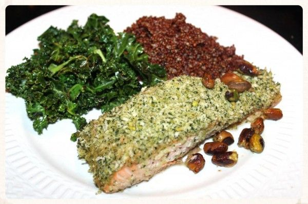 Pistachio Crusted Salmon with Garlic Seasoned Red Quinoa and Lemon ...
