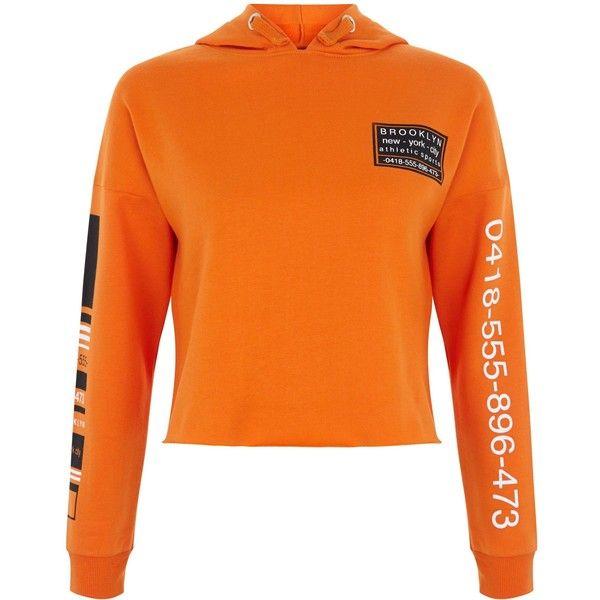 New Look Teens Bright Orange Phone Number Print Hoodie (£16) ❤ liked on Polyvore featuring tops, hoodies, bright orange, print top, hooded top, orange top, long sleeve hooded sweatshirt and print hoodies