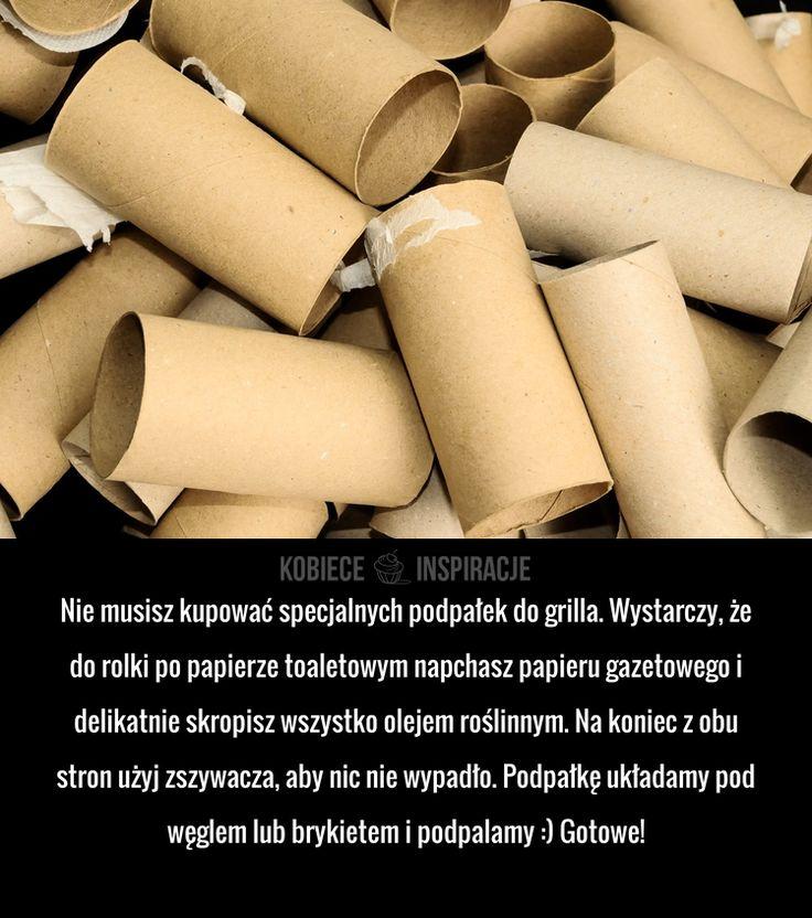 Nie musisz kupować specjalnych podpałek do grilla. Wystarczy, że do rolki po papierze toaletowym napchasz papieru gazetowego i delikatnie skropisz ...