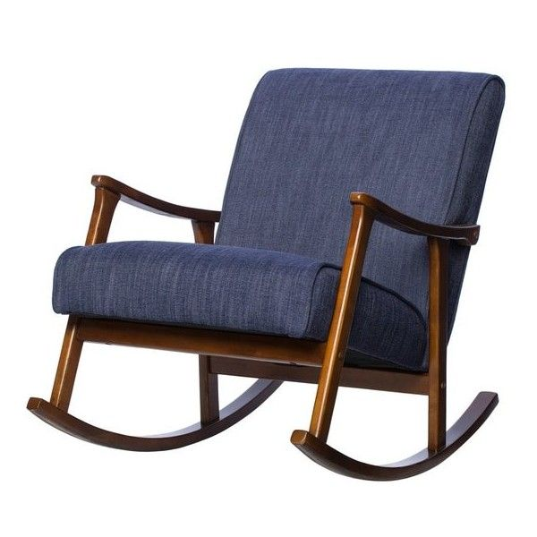 Retro Indigo Wooden Rocking Chair ($240) ❤ liked on Polyvore featuring home, furniture, chairs, wood rocker, wooden chair, wooden rocker chair, colored chairs and retro chairs