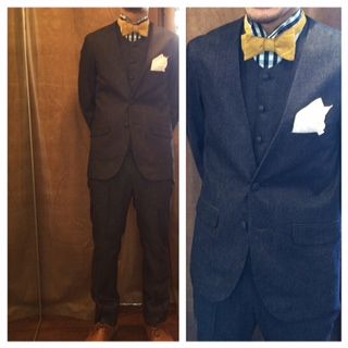 suit:デニムノーカラースリーピース shirt:ネイビーグリーンギンガムチェック bowtie:イエローリネンワッシャー  #新郎#カジュアルウエディング#デニム