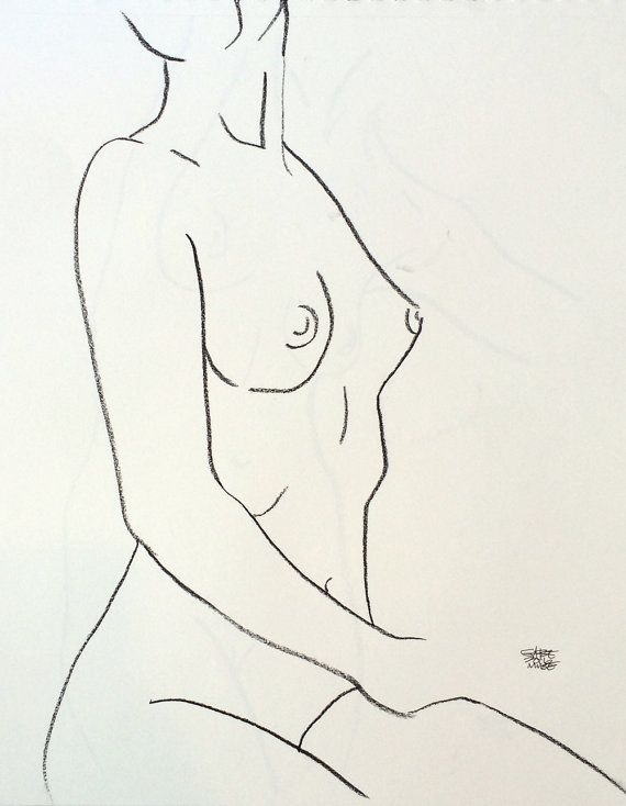 Ligne de charbon de bois minimale Contour, dessin de nu féminin assis tournant 11 en x 14 en