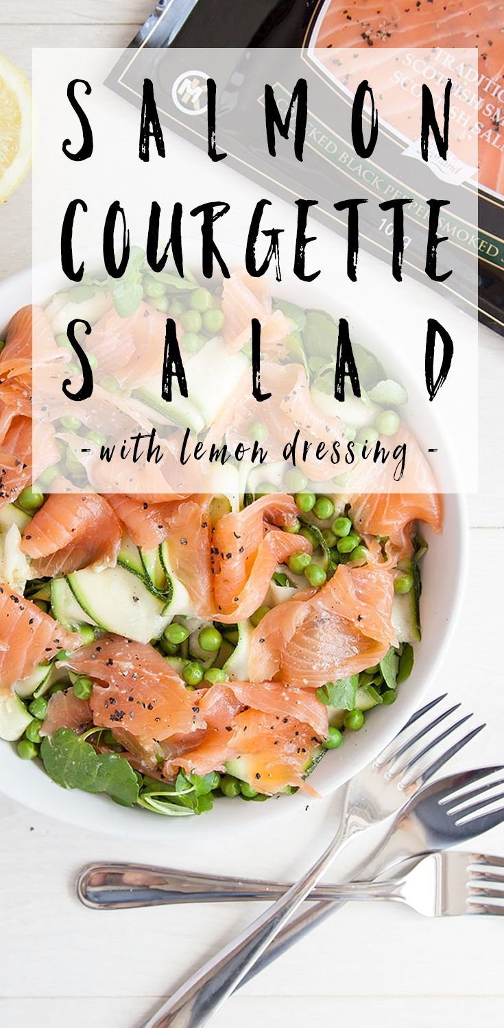 Pea and courgette ribbon lemon salad with black pepper smoked salmon, a perfect spring lunch to impress your friends and family.