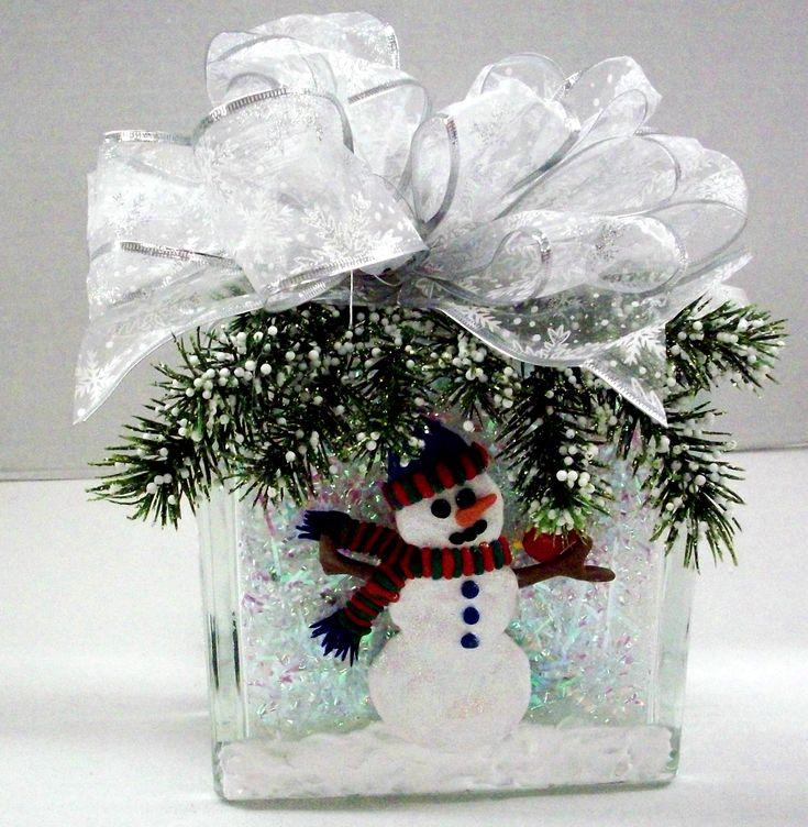 Snowman Block designed by Karen S., A.C. Moore Erie, PA #glassblock #winter