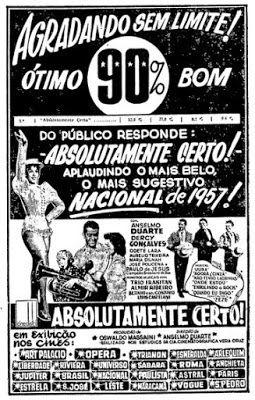 projetor antigo: Absolutamente Certo 1957 Bras avi  1957, Anselmo Duarte, Comédia, Dercy Gonçalves, Dublado, Odete Lara