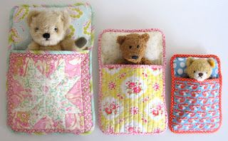 Could be used for stuffed animals or dolls.  Free Pattern and so cute!  Flossie Teacakes: The Three Bears' Sleeping Bag PDF Pattern