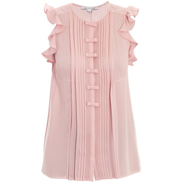 Diane Von Furstenberg Novalee top (10.780 RUB) ❤ liked on Polyvore featuring tops, blouses, shirts, blusas, pink, flutter sleeve top, loose shirt, silk ruffle blouse, silk button-down shirts and pink blouse