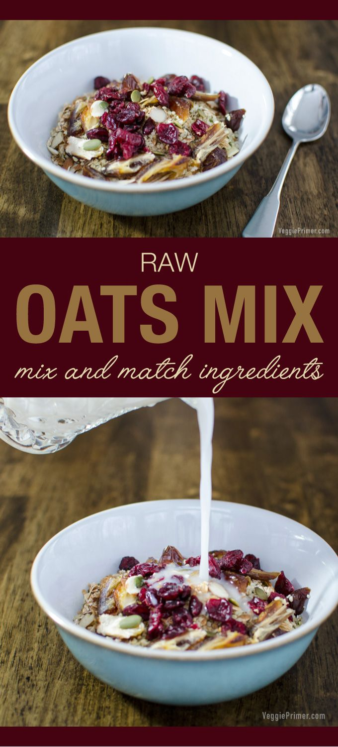 Raw Oats Mix - vegan and gluten free - enjoy a different version of this oatmeal recipe for breakfast each morning! | VeggiePrimer.com