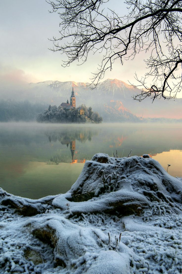 """ Misty "" Beautiful Lake Bled in the Julian Alps of northwestern Slovenia"