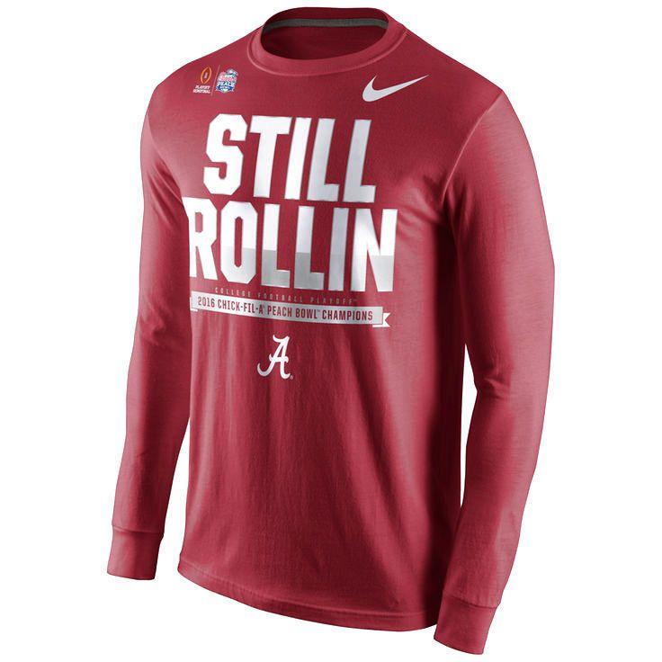 Alabama Crimson Tide Nike College Football Playoff 2016 Peach Bowl Champions Locker Room Long Sleeve T-Shirt - Crimson - $31.99