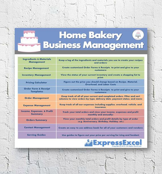 Need to manage your home based cake, cookie and candy baking and decorating business? The Home Cake Decorating Bakery Business Management Excel Software Spreadsheet is just what you NEED!  ▬▬▬▬▬▬▬▬▬▬▬▬▬▬▬▬▬▬▬▬▬▬▬  WHATS INCLUDED  This easy to use Microsoft Excel template makes it simple to manage your orders, cost out your recipes and figure out what to price your order at to get the profit you deserve!  ► Track your Sales, Expenses, Profit, and Return on Investment (ROI%), monthly and…