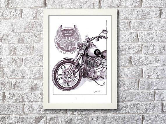 Harley-Davidson 105 years  framed artwork digital by NewHomeDecor