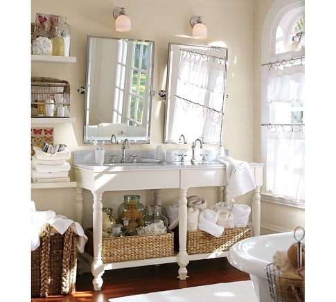 Bathroom tilt mirror with sconce above find vintage - Pottery barn bathroom vanity mirrors ...