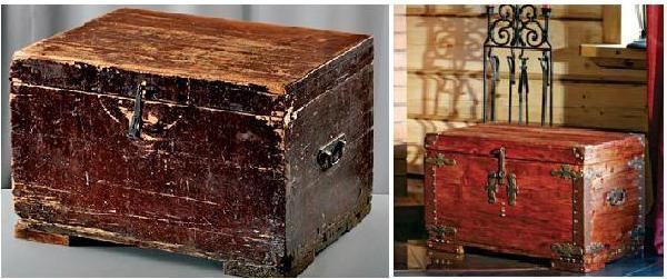 Сундук до и после реставрации