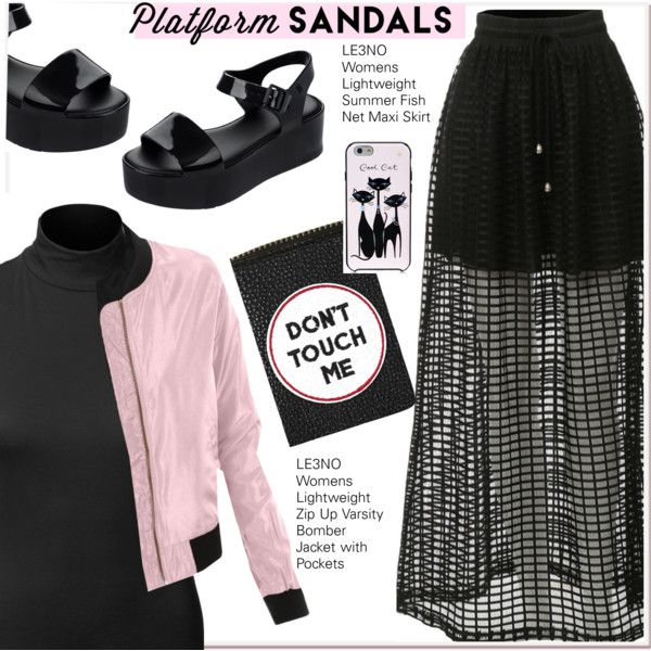 pink bomber on a black outfit by paculi on Polyvore featuring LE3NO, Melissa, Topshop, Kate Spade, Pink, black, platforms, bomberjacket and le3no