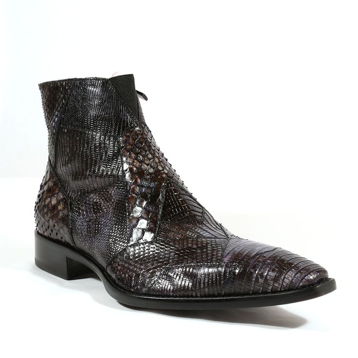 Jo Ghost Italian Piton Roccia Tejus Black Mens Boots (JG2004) Material: Python / Lizard  Color: Black  Outer Sole: Leather  Comes with original box and dustbag. Made in Italy. 1734