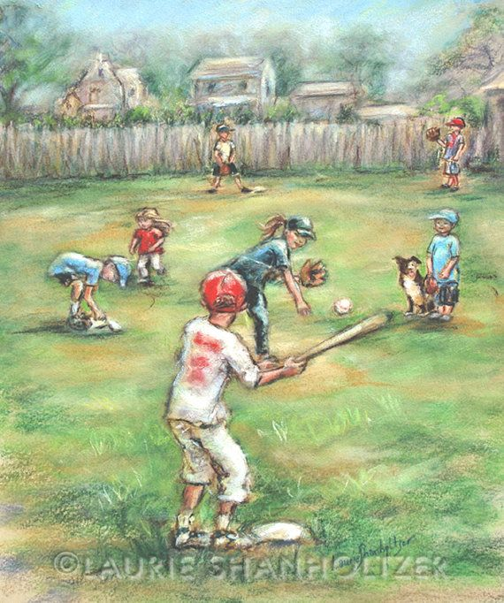 Baseball sports art Kids children Playing by LaurieShanholtzer
