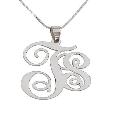 Personalized Sterling Silver Two Letters Monogram Necklace