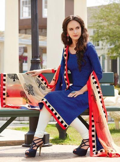 Blue Silk Churidar Style Salwar Kameez 31177