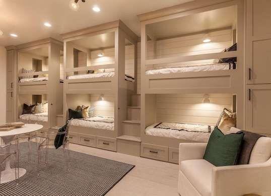 Beige Bedroom with Bunk Beds