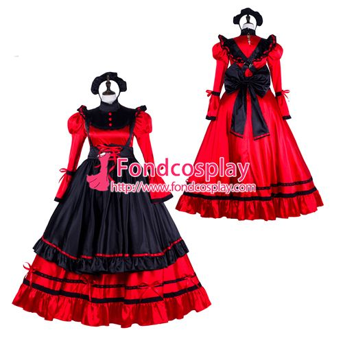 Sissy maid satin dress lockable Uniform cosplay costume Tailor-made[G2301]