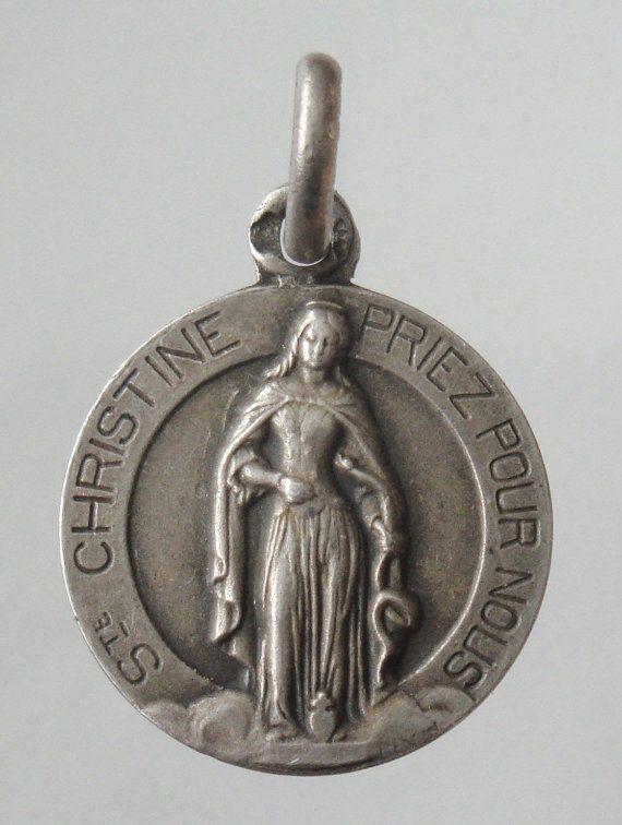 Saint Christine Sulver Vintage Religious Medal by CherishedSaints, $64.00