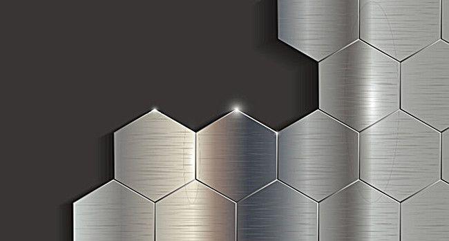 Silver Black Metallic Geometric Hexagon Background In 2019