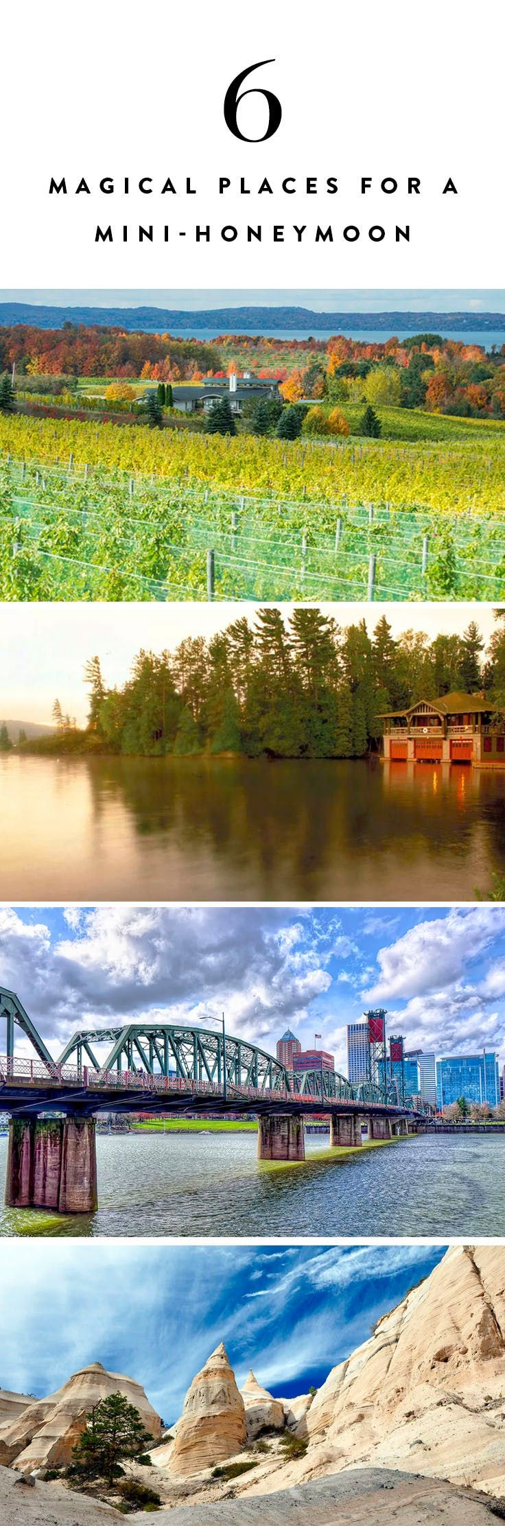 6 Magical Places in the U.S. for a 4-Day Mini Moon (and No, None of Them Are Napa) via @PureWow