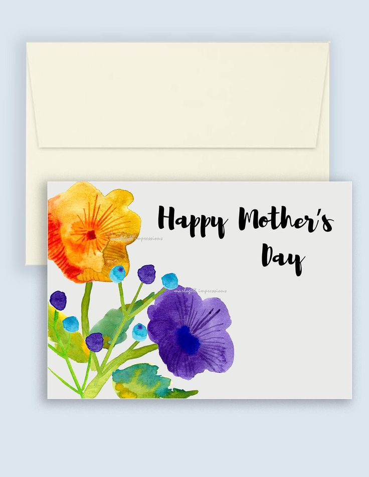 Instant Download Mother's Day Card. Watercolour flowers for Mother's Day by marlagillimpressions on Etsy