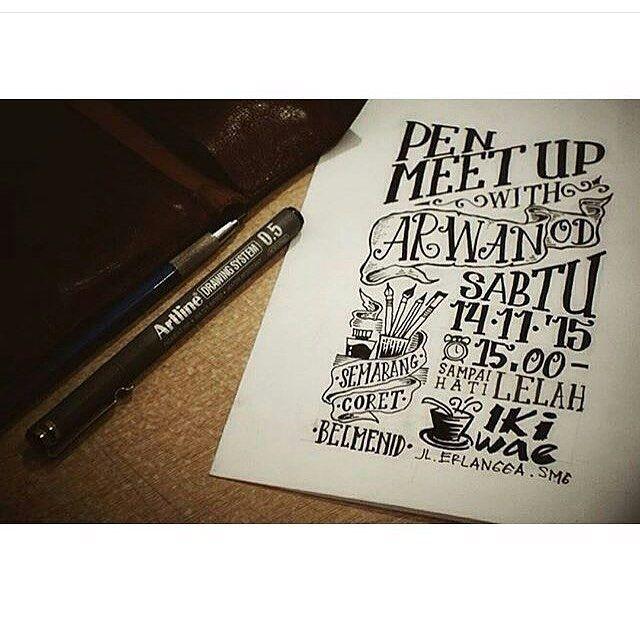 Temen-temen di #Semarang dan sekitarnya ngumpul yuk bareng @semarangcoret.  Di Pen Meetup kali ini ada Mas @arwanod yang akan berbagi pengalamannya di dunia desain ilmu handletering plus perjalanan @locomotype nya.  Sabtu 14 November 2015 di Iki Wae resto Jl. Erlangga Semarang. Mulai jam 3 sore sampai hati lelah . Buat kamu apasih yang nggak GRATIS.  Bawa kertas alat tulis dan jangan lupa bawa teman.  See you there guys.  Boleh tanya-tanya sama Mas : @kynankuss : kynan - 0856 0027 0672…