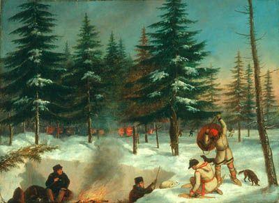 Cornelius KRIEGHOFF - A winter hunting camp (c.1858) Cornélius Krieghoff Follow the biggest painting board on Pinterest: www.pinterest.com/atelierbeauvoir