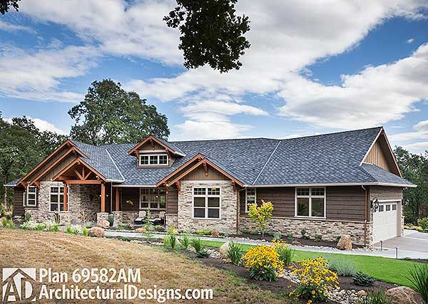 Wonderful Plan 69582AM: Beautiful Northwest Ranch Home Plan