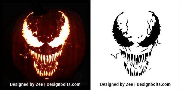pumpkin template venom  6 Free Venom & Scary Halloween Pumpkin Carving Stencils ...