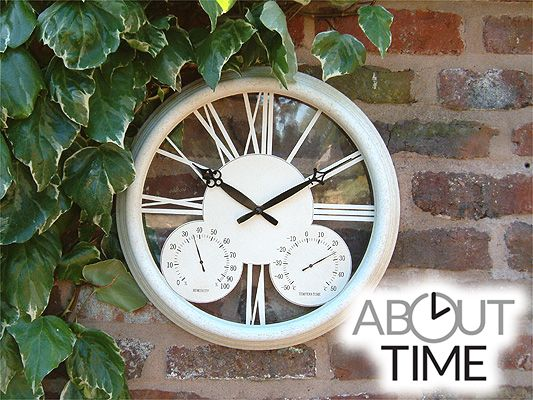 Classic Antique White Garden Clock With Thermometer   32cm (12.6